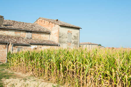 italian landscape: Rural italian landscape with farm and farmland Stock Photo