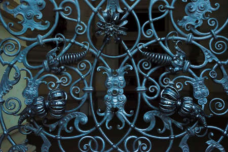 ornamentations: Wrought iron detail, of a German door
