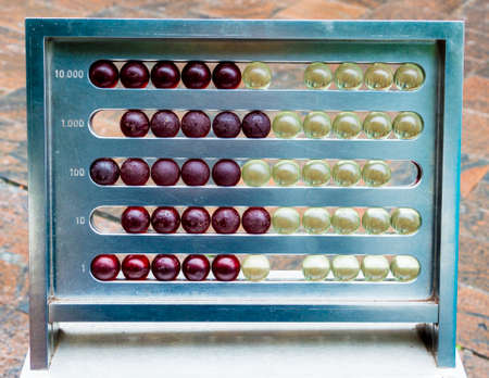 enviroment: A vintage abacus placed in a urban enviroment Stock Photo