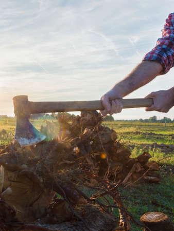 lumberman: Lumberman cuts wood with his strong axe
