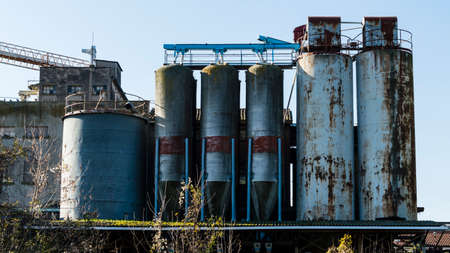 undoing: Focus on old abandoned industrial building Stock Photo