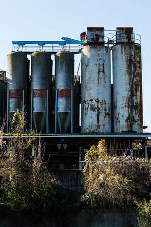 ravage: Focus on old abandoned industrial building Stock Photo