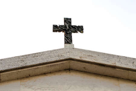 cross: Religious symbol of a cross, inside a graveyard Stock Photo