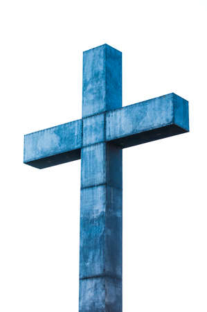 cross: Blue Steel Cross with white background, North Italian Graveyard