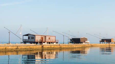 fishing huts: fishing huts with balance netfish Adriatic Sea in Italy