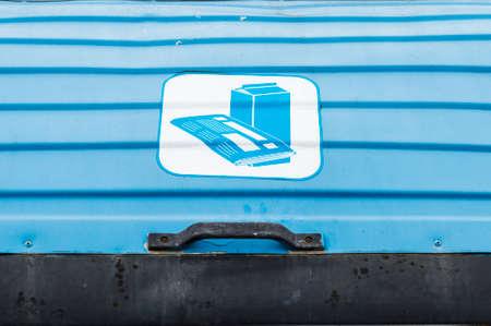 blue bin: Detail of a blue bin cover of paper waste Stock Photo
