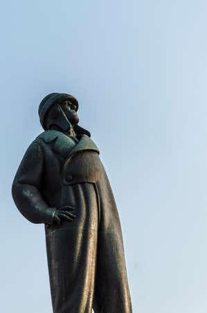 20th century: Statue of Francesco Baracca, aviator italian 20th century. Stock Photo