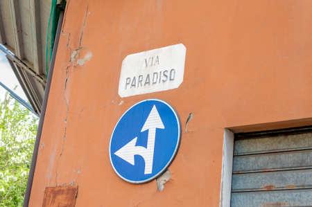 streetsign: Italy - Forl� town. The streetsign of Via del Paradiso (Heaven Street) Stock Photo