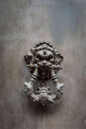 bacchus: Bacchus Head Door Knocker, Ancient Knocker detail Stock Photo