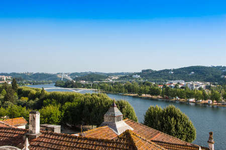 isabel: Queen Elisabeth Bridge (Rainha Santa Isabel), formerly known as the Europe Bridge), over the Mondego River in Coimbra, Portugal. Stock Photo