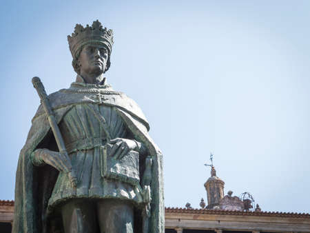 Statue of king Duarte, also called Edward, ancient Portugal sovereign, placed in Viseu