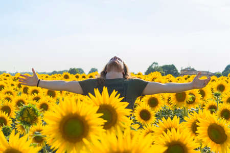 graying: Happy young caucasian woman with blond and long hair at sunflowers field Stock Photo