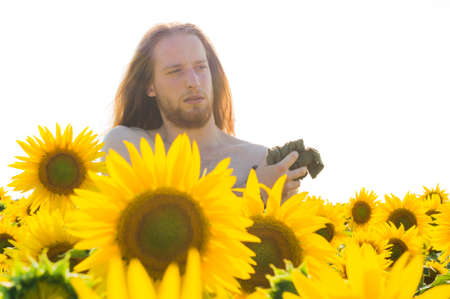 Young model suffers heat in a sunflower field