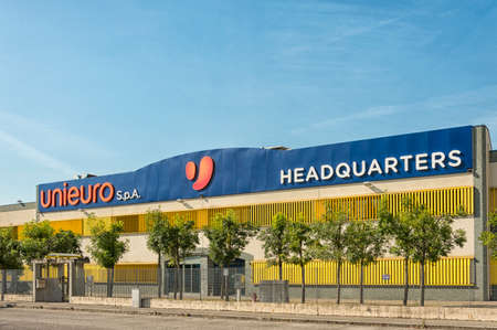 headquaters: Forli, Italy - JULY 10, 2017: Unieuro Headquaters store in Forli. Unieuro is the largest Italian omni-channel distributor of consumer electronics and household appliances by number of outlets in Italy