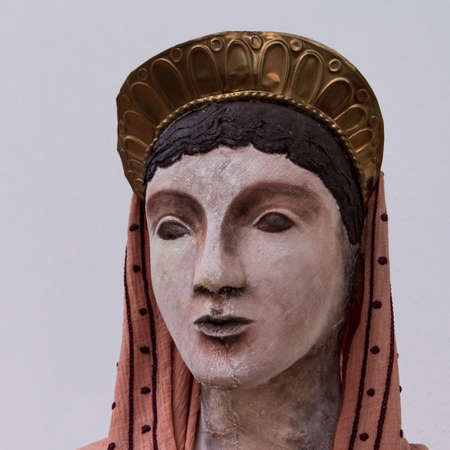 Marzabotto, Italy: 2nd November 2017: At Etruscan Museum, reproduction of women with traditional clothes
