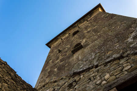 Detail of a dark ancient medieval tower Editoriali