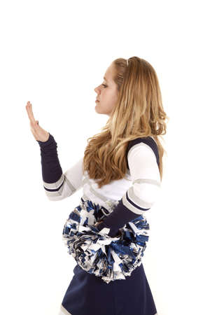nails: A cheerleader worried what her nails look like.