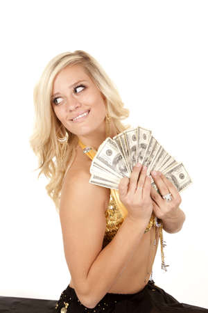 genie woman: a woman genie with a fan full of money in her hands with a smile on her face.