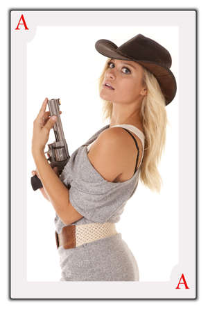 A face card with a woman and a gun photo