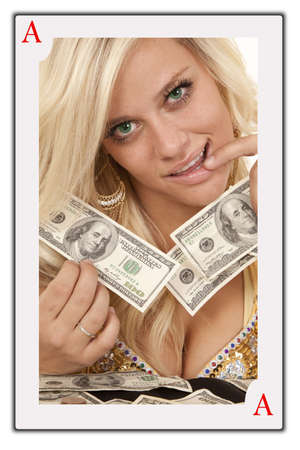 A face card of a woman with money in her hands. photo