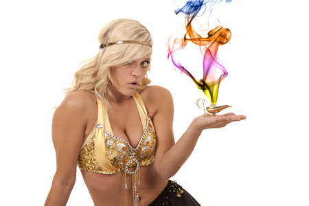 A genie holding on to her magic lamp with a shocked expression on her face. photo