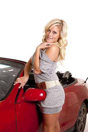 A woman in a gray dress is standing by her car. Stock Photo - 12104401