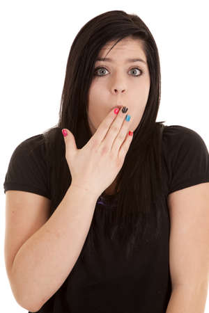 A girl with a shocked and surprised expression on her face. photo