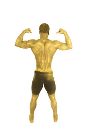A back view of a man who is painted gold showing off his muscles in his back. Stock Photo - 13265023