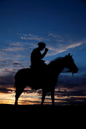 A cowboy is sitting on his horse in the sunset holding his hat.