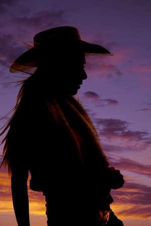 A silhouette of a cowgirl with a beautiful sunset behind her. Stock Photo