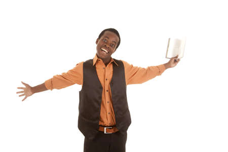 A man holding out his book with an excited expression on his face. Stock Photo - 16035371