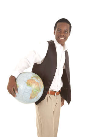 A man with a big smile on his face holding the world in his hand. Stock Photo - 16035370