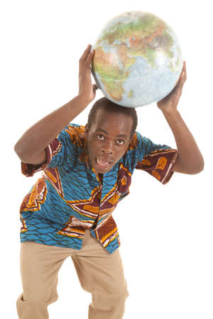 A man holding on to a globe on top of his head with a funny expression on his face. Stock Photo - 16035347