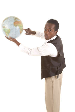 A man pointing at his globe with his finger with a funny expression on his face. Stock Photo - 16035375
