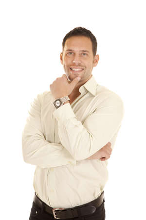a man with a smile on his face wearing a watch. photo