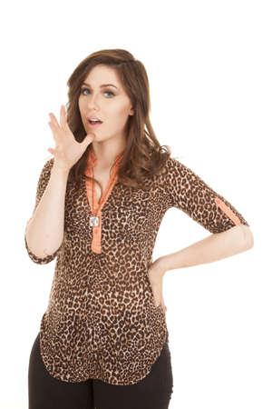 hand language: A woman using sign language to say mom