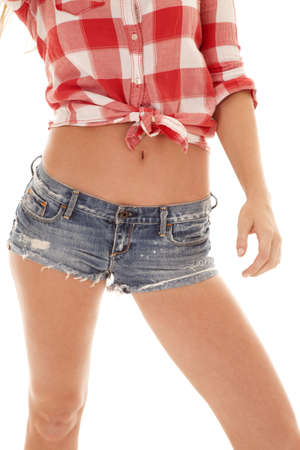 a woman's body in her plaid top and shorts photo