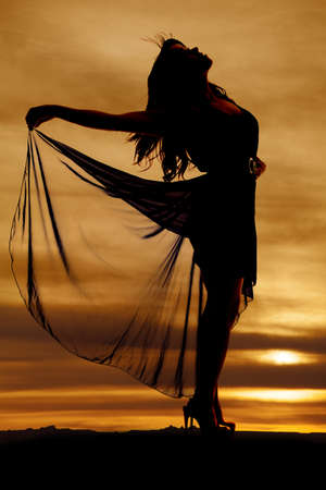 A silhouette of a woman holding on to her flowing skirt photo
