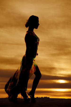 A silhouette of a woman in her long formal dress. Stock Photo