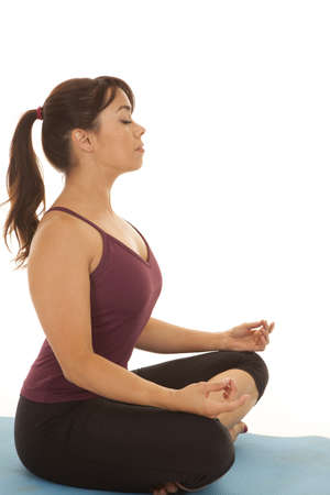 a woman doing her yoga relaxation pose. photo