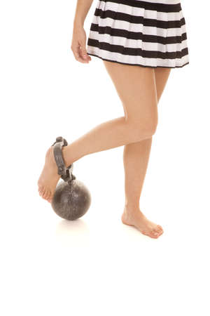 ball and chain: A woman prisoner in a ball and chain legs. Stock Photo