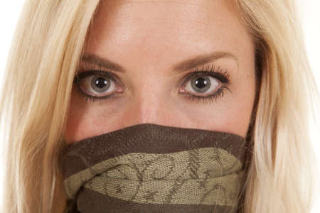 mouth close up: A woman face close up with mouth covered. Stock Photo
