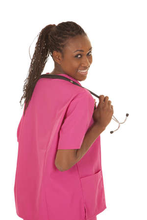 An African American woman nurse with a stethoscope 版權商用圖片