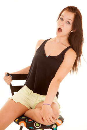 b3b1ed06b6d A Shocked Teen In A Blue Tank Top Has Wide Eyes. Stock Photo ...