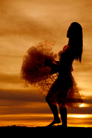 A silhouette of a woman holding her skirt. photo