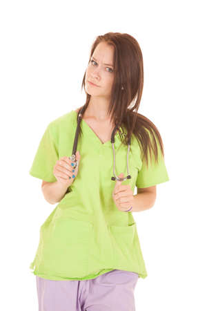 A nurse in lime green is upset.