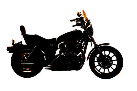 A side silhouette of a motorcycle on a white back ground. photo