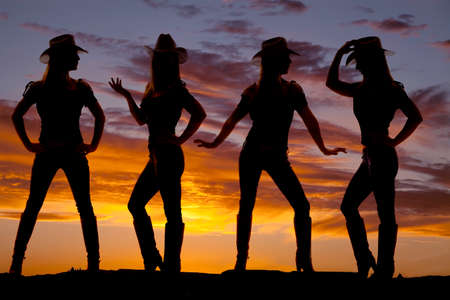 A silhouette of a cowgirl in many poses with a beautiful sky behind her.