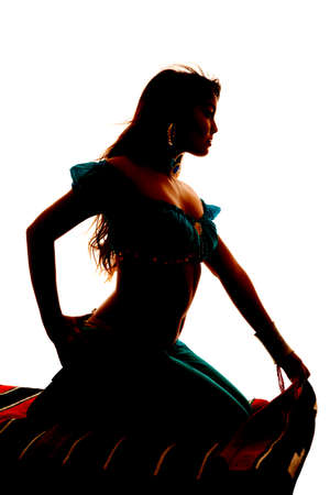 A silhouette of a woman on a magic carpet. photo
