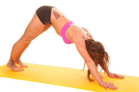 A woman is doing downward dog on a yoga mat. photo